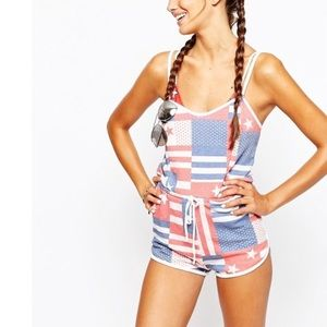 Wildfox US flag print pool party romper small